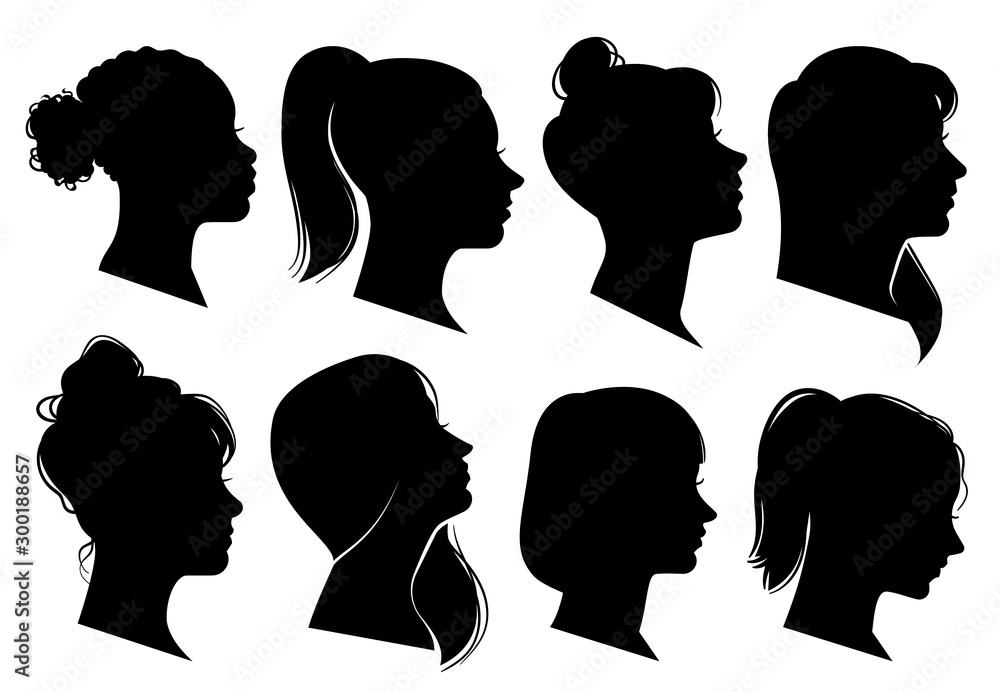 Fototapeta Woman heads in profile. Beautiful female faces profiles, black silhouette outline avatars, anonymous portraits with hairstyle vector set