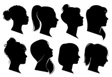 Woman Heads In Profile. Beauti...