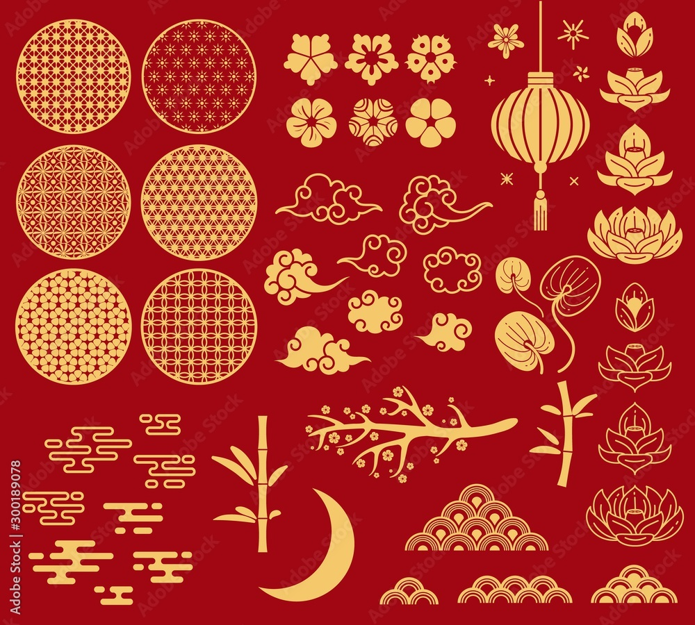 Fototapeta Chinese new year elements. Festive asian ornaments, patterns in oriental style. Clouds, moon and bamboo, sakura and lotus flower vector set