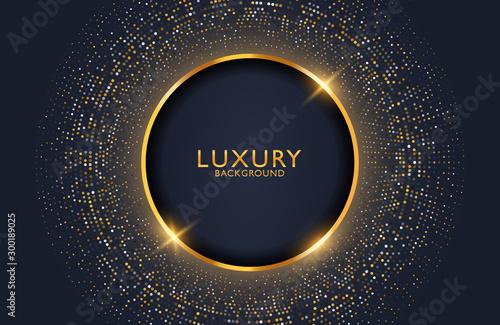 Fototapeta Luxury elegant background with shiny gold circle element and dots particle on dark black metal surface. Business presentation layout obraz