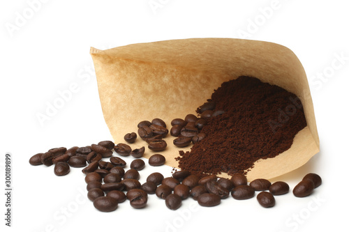 Filter with ground coffee and coffee beans Wallpaper Mural