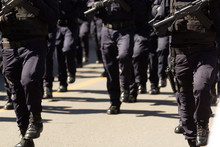 Close Up Of The Special Weapon And Assault Officers During A Parade Holding Their Assault Guns