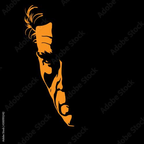 Fotografía  Severe Man portrait silhouette in backlight