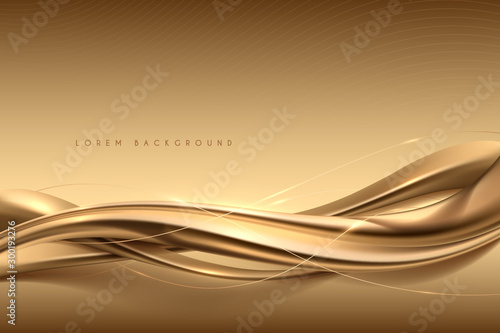 Elegant abstract gold silk background - fototapety na wymiar