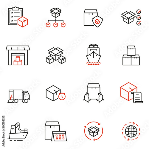 Vector set of linear icons related to order, collect, delivery and receipt of goods Canvas Print