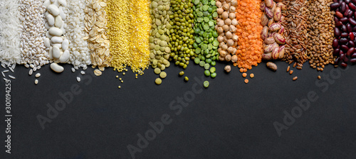 Obraz Cereals and legumes food Panoramic background in high resolution. - fototapety do salonu