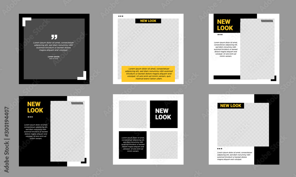 Fototapety, obrazy: Set of Editable minimal square banner template. Black and yellow background color with stripe line shape. Suitable for social media post and web internet ads. Vector illustration with photo college