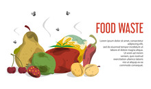 Food Waste Web Banner Vector Isolated. Organic Garbage