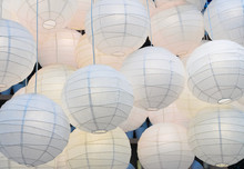 Background Of Big Paper Lanterns. Lamps From Large Paper Lanterns As A Part Of The Interior