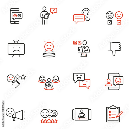 Photo Vector set of linear icons related to negative reaction, opinion, review, antipathy and cancellation