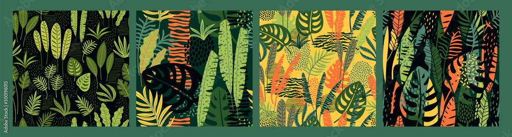 Fototapeta Abstract seamless patterns with tropical leaves. Hand draw texture.