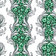 Seamless Baroque Pattern With Gems And Silver Scrolls 4