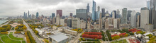 Chicago Downtown Buildings Skyline Fall Foliage Aerial Drone