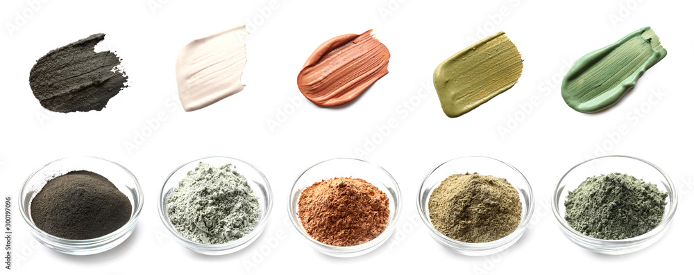 Fototapety, obrazy: Collage with different cosmetic clays on white background