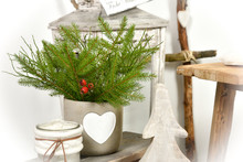 Winter Weihnachten Dekoration Mit Herz Und Strauß Als Hintergrund