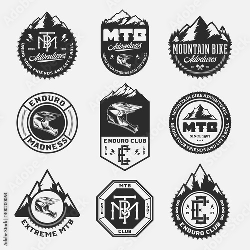 Vector mountain biking adventures, parks, clubs logo, badges and icons Wallpaper Mural