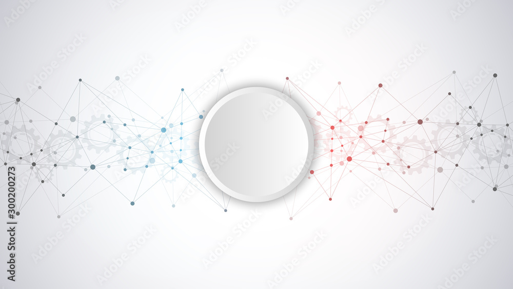 Fototapety, obrazy: Abstract plexus background with connecting dots and lines. Global network connection, digital technology and communication concept.