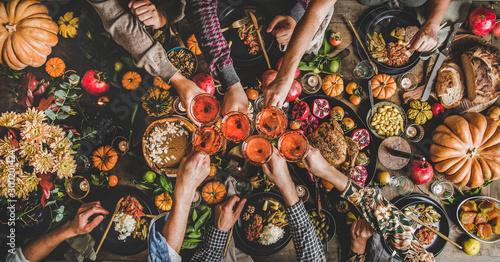 Fotomural Family celebrating Thanksgiving day