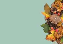 Autumn Traditional Wreath. Autumn Wreath With Pumpkin, Autumn Leaves, Red Berries, Acorns On A Dark Background. Autumn Holiday, Fall, Thanksgiving, Halloween Concept
