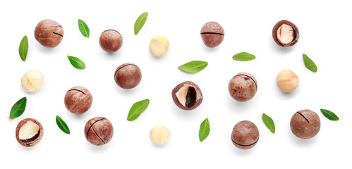 Tasty macadamia nuts on white background
