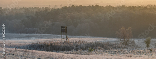 Fotografia hunting tower in the valley on a beautiful frosty morning-on the right side of t