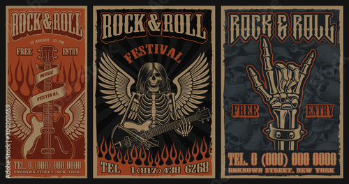 Valokuva Set of color vintage posters on the theme of rock and roll