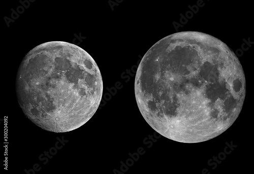 Rappresentation of satellites, on the right you see on apogee orbit, and in the second one on your right in its perigee one, or also known as super moon Canvas Print