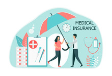 A Man Holds An Umbrella Over A Pregnant Woman. Health Insurance Medical Concept. Pregnancy, Testing, Healthy Family. Flat Vector Illustration Isolated On White Background.