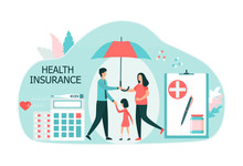Family Health Insurance Concept. A Pregnant Woman, A Child And A Man Are Protected By An Umbrella. Choosing A Health Insurance Plan. Flat Vector Illustration Isolated On White Background.