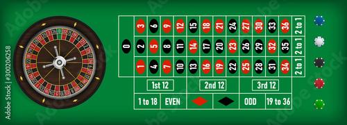 Poker roulette wheel with poker chips on a green table Fototapeta