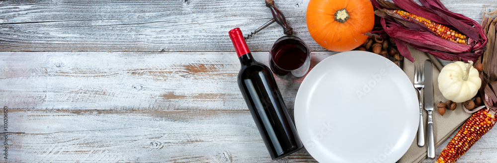 Fototapety, obrazy: White dinner table decorated for Thanksgiving dinner celebration with plenty of copy space