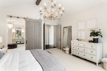 Beautiful Master Bedroom In New Luxury Home With View Of Ensuite Bathroom.