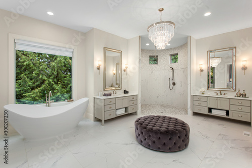 Fotomural Elegant master bathroom in new luxury home, with two vanities, walk-in shower, s