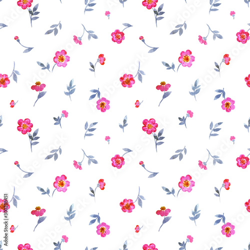 Seamless pattern of small pink flowers on a white background, print for fabric, background for various designs, children's watercolor pattern.