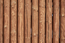 Texture Of Logs, Masonry Coupling Of Wooden Logs With Cuts. Copy Space, Wooden Background.
