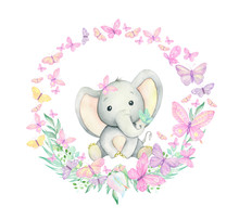 Cute Baby Elephant Surrounded By Butterflies, Tropical Plants And Flowers. Watercolor Frame. For Children's Invitations. Children's Textiles.