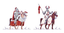 Equestrian Knights Flat Vector Illustrations Set. Armored Warriors Riding Horses Isolated Cartoon Characters With Outline Elements On White Background. Middle Age Cavalry Soldiers. Ancient Warfare