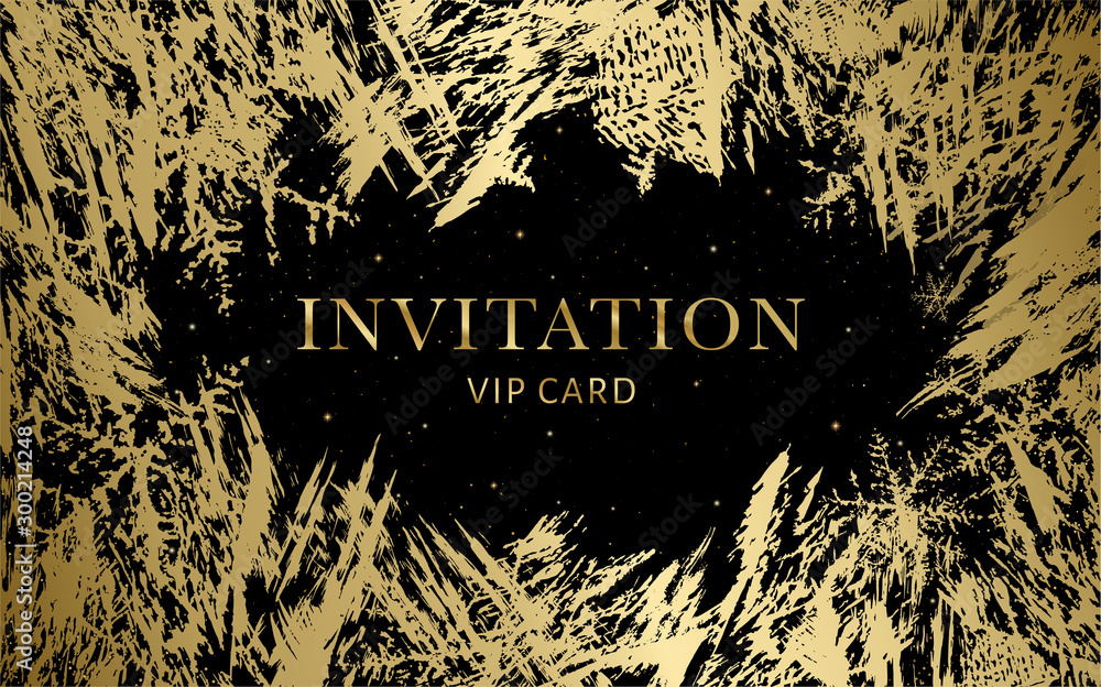 Fototapety, obrazy: Luxurious VIP Invitation template with gold, black background and decorative golden grunge ice texture pattern. Premium class design for Gift certificate, Voucher, Gift card