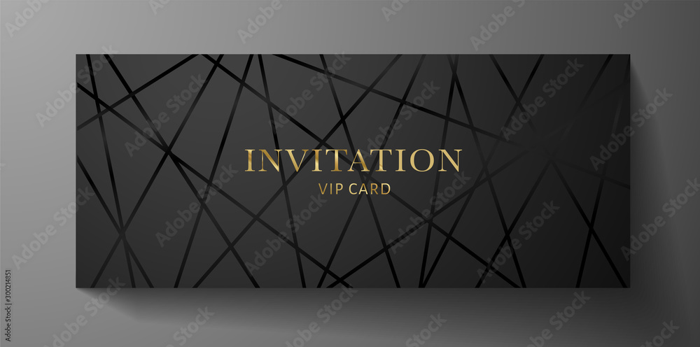 Fototapeta Luxurious VIP Invitation template with black lines on background and gold (golden) text. Premium class design for Gift certificate, Voucher, Gift card