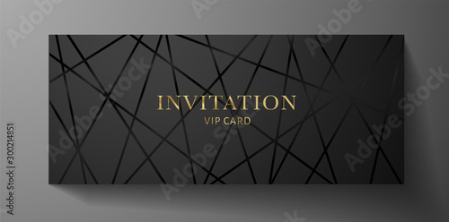 Foto  Luxurious VIP Invitation template with black lines on background and gold (golden) text