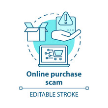 Online Purchase Scam Concept Icon. Identity And Money Theft Via Internet Shopping Fraud. Cybercrime. Buying On Fake Site Idea Thin Line Illustration. Vector Isolated Outline Drawing. Editable Stroke