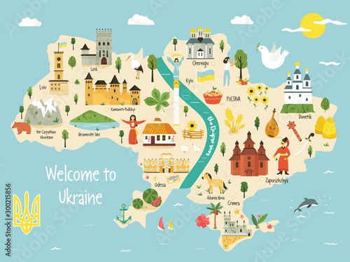 Fototapeta Bright map of Ukraine with landscape, symbols
