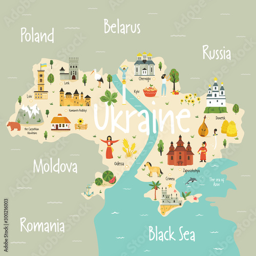 Obraz na plátně Bright map of Ukraine with landscape, symbols