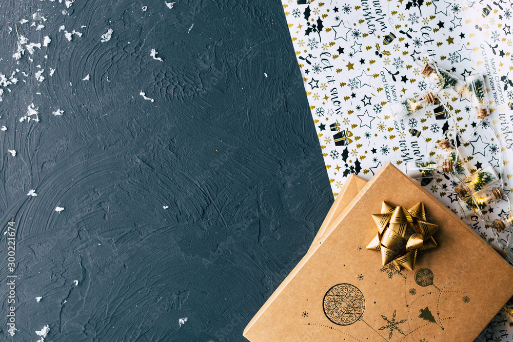 Fototapety, obrazy: Gifts for Christmas and New Year on a black background.