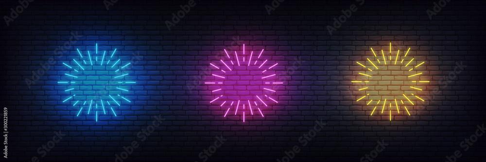 Fototapeta Neon firework burst. Set of glowing neon firework signs