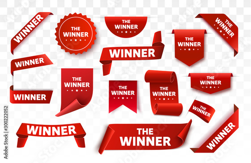 Winner tags isolated. Red banners Canvas-taulu