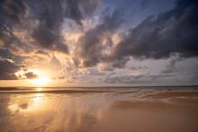 Australia Fraser Island K'gari Sunset After Storm On Beach