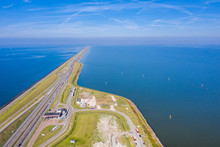 Afsluitdijk, A Major Dam And Causeway In The Netherlands, Runs From Den Oever In North Holland To Village Of Zurich In Friesland Province, Damming Off The Zuiderzee, Salt Water Inlet Of The North Sea.