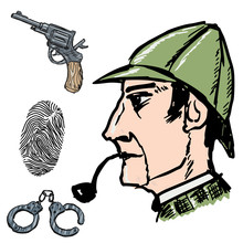 Sherlock Holmes Famous Detective. Hand Drawn, Vector Set Images. Fingerprint, Handcuffs, Revolver, Gun. Adventures, Literature, England, Vintage, Retro, Character. Side View