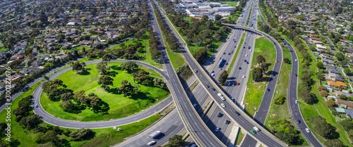 Obraz Monash freeway and Wellington road interchange in Mulgrave suburb - aerial panoramic landscape - fototapety do salonu
